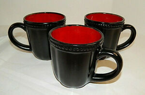 ROSCHER Red Hobnail Stoneware Collection Set of THREE Coffee Mugs - Discontinued