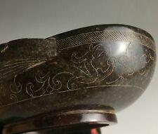Rare Chinese Hetian jade cinnabar ooze colour phoenix design ear shape wine cup