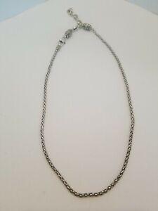Brighton ABC Monogram Chain Rope Silver Add A Charm Bead Necklace