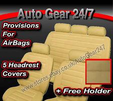 AIR BAG COMPATIBLE Beige Crème Housses de siège auto look cuir complet