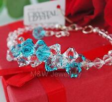 925 STERLING SILVER BRACELET BICONE LIGHT TURQUOISE CRYSTALS FROM SWAROVSKI®