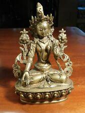 """White Tara Brass Beautiful 8-3/4"""" Tall Tibet"""