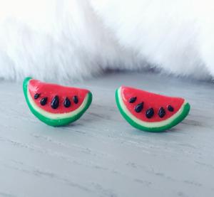 Watermelon Earrings Handmade Polymer Clay Fruit Stud Earring Surgical Steel