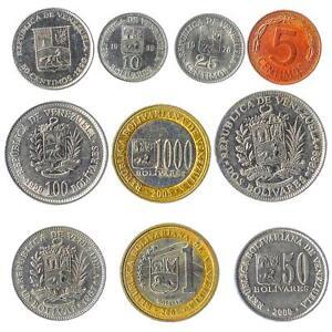 10 COINS: BOLIVARIAN REPUBLIC OF VENEZUELA SOUTH AMERICA OLD COLLECTIBLE MONEY
