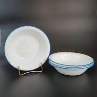 """Corelle Blue Enhancements Soup Cereal Bowls Blue Rim 7 1/4"""" Set of 4 VTG"""