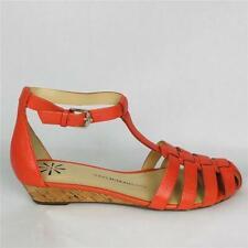 Isaac Mizrahi Coral Pink Julia Leather Sandal 7.5 T-Strap Fisherman Wedge New