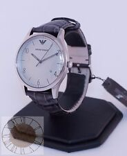 Emporio Armani Men's Classic Grey Crocodile Leather Watch AR1880, New