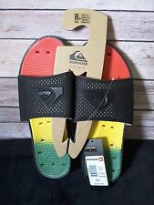 Quiksilver Horizon Slide Sandals NWT Mens 8 Black / Rasta $36 NWT