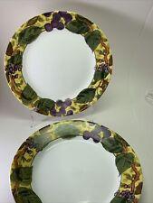 "Set of 5 Corelle TUSCAN VINE 8 1/2"" Salad/Lunch Plates  Grapes Excellent"