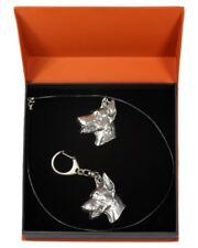 Doberman pincher - necklace, keyring, set with a dog in orange box, Art Dog USA