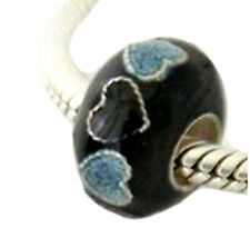 Sterling Silver Black Cloisonne Heart Bead For 3mm European Charm for Pandöra