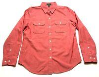 Lauren Jeans Co Ralph Lauren Womens Red Front Pocket Shirt Size Large