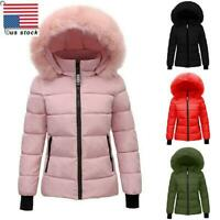 WOMENS FAUX FUR TRIM HOODED JACKET QUILTED PADDED WINTER WARM PUFFER COAT PARKA