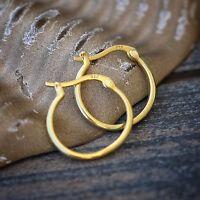 14k Gold Plated Solid 2Pc Pierced 925 Sterling Silver Stud Men's Hoop Earrings