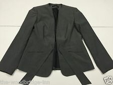 WARDROBE SIZE 12 GREY LADIES LINED TIE FRONT FITTED JACKET 5T