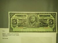 1902 -1914 MEXICO 5 PESOS TAMAULIPAS BANCO NOTE CHOICE UNCIRCULATED P 324 Crisp!