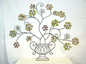 Metal steel Wall art Sculpture Gold Red & White Glass Flowers