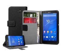 Billetera De Cuero Negro Flip Funda Protectora Bolsa Para Sony Xperia E4 Experia