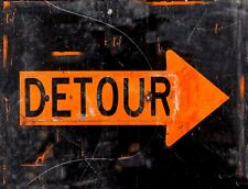 "TIN SIGN ""Detour""  Highway Deco  Garage Wall Decor"