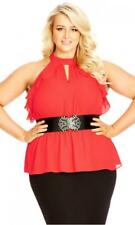ab3d3cafa City Chic Frilly Peekaboo Red Velvet Plus Size Top M