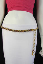 Women Chunky Brown Thick Gold Chain Links Skinny Fashion Belt Hip Waist S M L