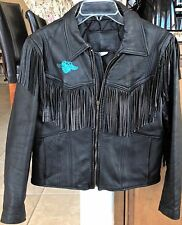 VTG BRANDED GARMENTS Black Leather Motorcycle Jacket Fringed Fully Lined Size 16