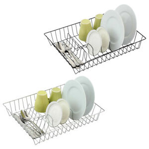 Dish Drying Rack Drainer Kitchen Sink Plate Draining Tray Cutlery Holder Storage