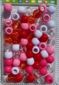 Pink, Red, White, Clear Mix Hair Beads for braids, twists, Also good for crafts!