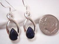 Faceted Iolite Infinity 925 Sterling Silver Dangle Earrings Corona Sun Jewelry
