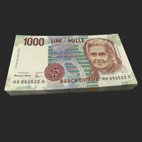 Full bundle Lot 100 PCS, Italy 1000 1,000 Lire, 1990, P-114, banknote, UNC