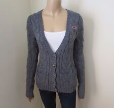 Hollister Womens Cable Knit Wool Cardigan Size Small Chunky Sweater Dark Gray