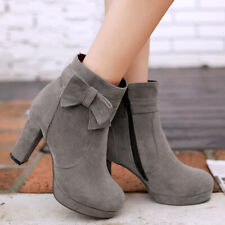 Winter Platform Short Ankle Boots For Women Bow Zip Chunky Heel Bootie US 6 Gray