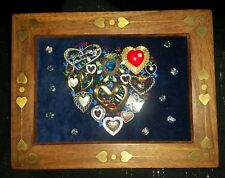 Jewelry Art Heart, in Estate Find Frame w/brass hearts inlay , signed by Artist