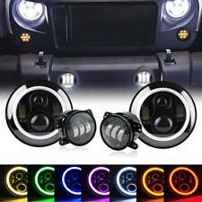 "7"" LED RGB Halo Headlights + Fog Light Combo Kit for Jeep Wrangler JK 2007-2017"