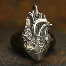 Sterling Silver Anatomical Heart Charm Doctor Nurse Medical Love Heartbeat 1164