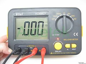 AideTek VC480C Precision Milliohm Meters vs Megger 4 wire kelvin clip large LCD