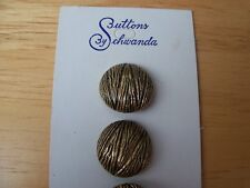 8 VINTAGE METAL ANTIQUE GOLD TONE DOMED SCHWANDA BUTTONS WESTERN GERMANY 16mm