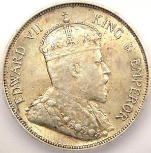 1908 Straits Settlements 50 Cents 50C KM-24 - ICG AU50 - Rare Certified Coin