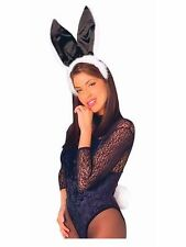 Playboy Bunny Ears & Tail set in White Fur & Black satin trim Costume Accessory