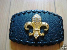 Stone Fleur De Lis Belt Buckle Black Leather Famous