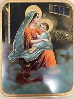 EAS Gel Merry Christmas Postcard Mother Mary Jesus Nativity Embossed