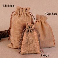 10/50x Burlap Wedding Favor Bags Natural Line Jewelry Pouches Jute Gift Bag