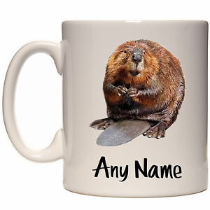 PERSONALISED BEAVER MUG CUP GIFT PRESENT IDEA LOVER ANY NAME TEXT MESSAGE MEME