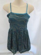 Turquoise Blue Gold Lyrical Dance Costume Large Child LC