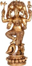 "Master Ganesha Five Head on Conch Jai God Statue 12.5""Brass Hindu Figure 3.87 KG"