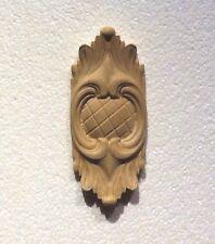 "Hand Carved solid hardwood applique/onlay Decor 5-5/8 "" x 2-5/8"" x 3/4"""