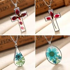 Natural Dried Rose Flower Cross Drop Glass Pendant Necklace Women Jewellery Gift