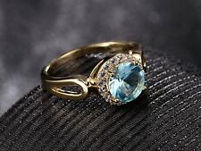 Charms Gold Filled Large Blue Aquamarine Gemstone Crystal Women Ring SZ O-T