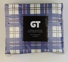 "Navy Plaid Flannel KING FITTED SHEET by GT 100% Cotton 78"" X 80"""