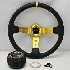 "GOLD DEEP DISH 13.5"" STEERING WHEEL+HUB FOR 90-93 HONDA ACCORD 92-96 PRELUDE"